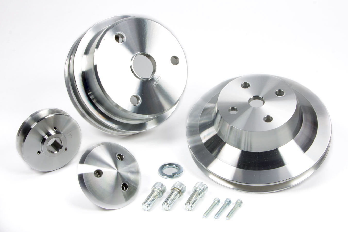 25628 Pulley Kit, Performance Ratio, 2 Groove V-Belt, Aluminum, Clear Powder Coat, Long Water Pump, Small Block Chevy, Kit