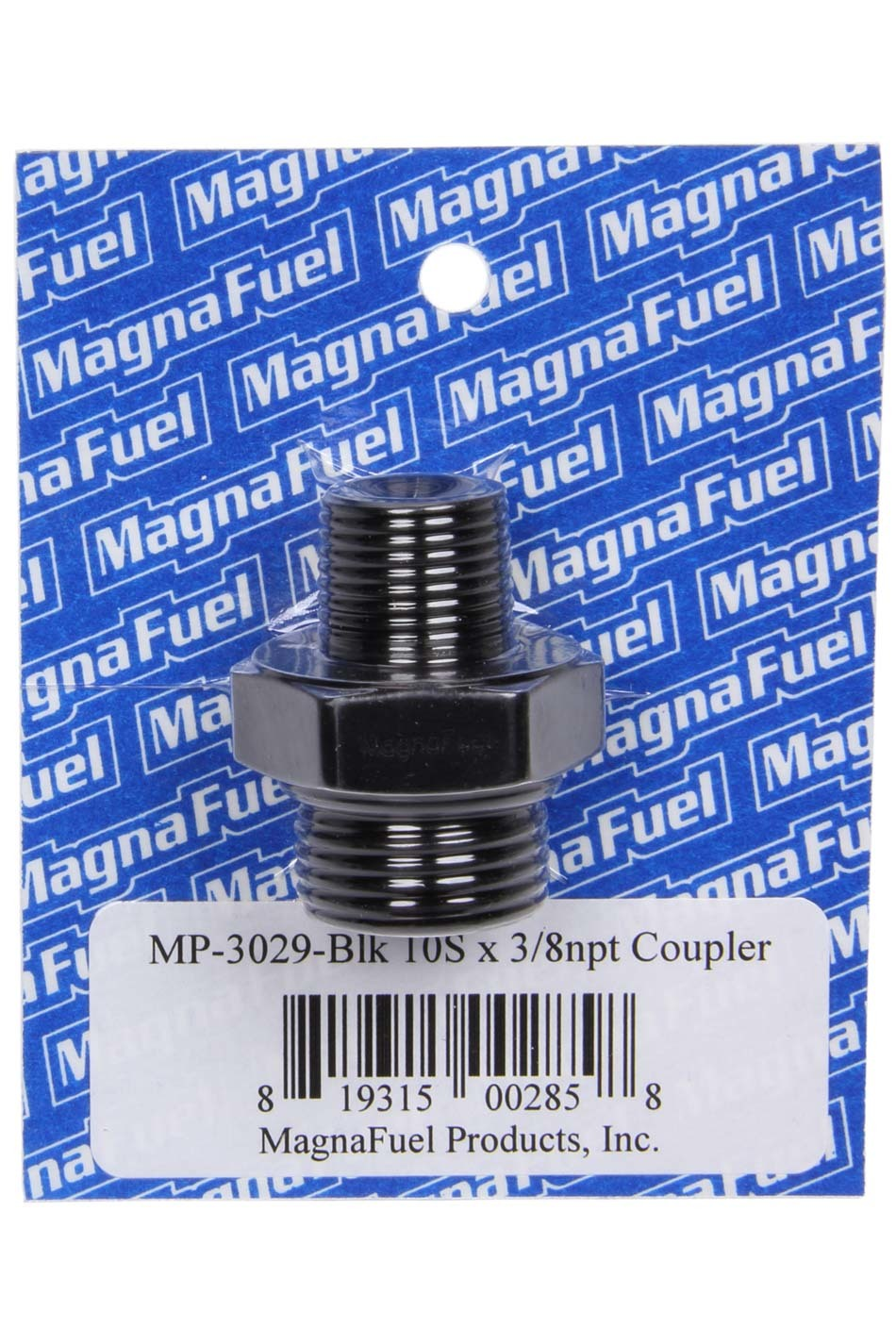 Magnafuel MP-3029-BLK Fitting, Adapter, Straight, 10 AN Male O-Ring to 3/8 in NPT Male, Aluminum, Black Anodized, Each