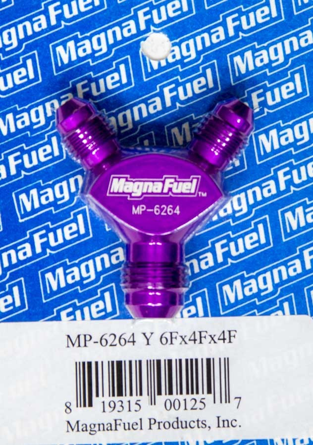 Magnafuel MP-6264 Fitting, Y Block, 6 AN Male Inlet, Dual 4 AN Male Outlets, Aluminum, Purple Anodized, Each