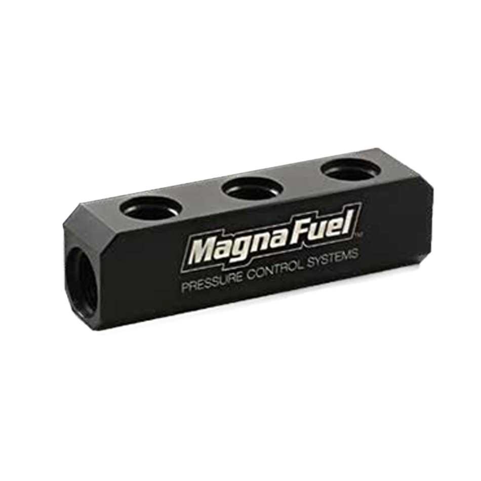 Magnafuel MP-7610-03-BLK Fuel Block, Two 10 AN Female O-Ring Ports, Three 8 AN O-Ring Ports, Aluminum, Black Anodize, Each