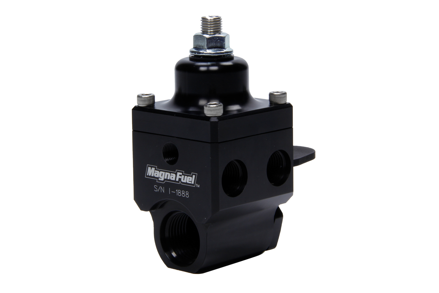Magnafuel MP-9450-BLK Fuel Pressure Regulator, 4 to 12 psi, In-Line, 10 AN O-Ring Inlet, Four 6 AN O-Ring Outlets, 1/8 in NPT Port, Aluminum, Black, E85 / Gas / Methanol, Each
