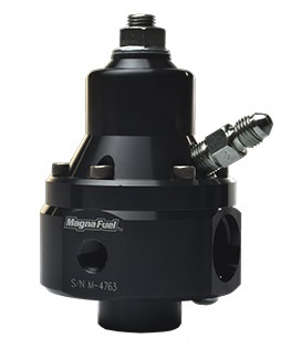 Magnafuel MP-9950-B-BLK Fuel Pressure Regulator, ProStar EFI Boost, 35 to 85 psi, In-Line, 8 AN O-Ring Inlets, 8 AN O-Ring Outlet, 8 AN O-Ring Return, Bypass, 1/8 in NPT, Aluminum, Black Anodize, E85 / Gas / Methanol, Each