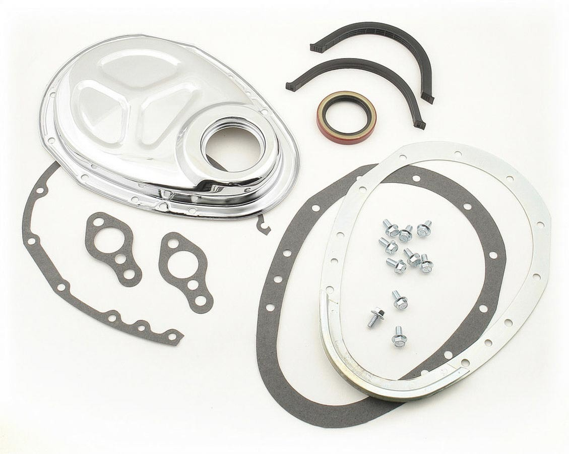 Mr Gasket 1099 Timing Cover, 2 Piece, Gaskets / Hardware / Seal Included, Steel, Chrome, Small Block Chevy / GM V6, Each