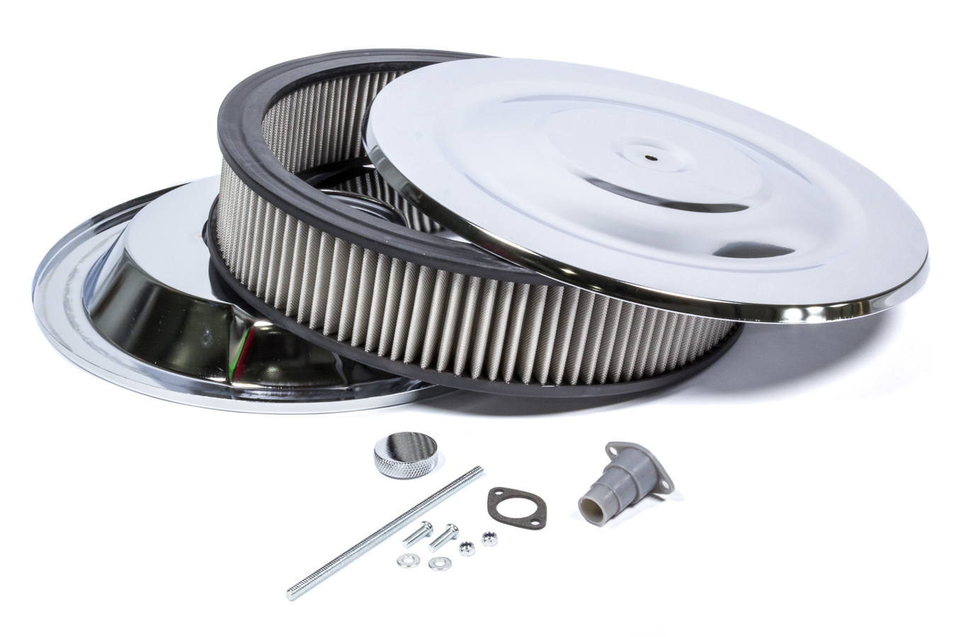 Mr Gasket 1410G Air Cleaner Assembly, Easy Flow, 14 in Round, 3 in Tall, 5-1/8 in Carb Flange, Drop Base, Steel, Chrome, Kit