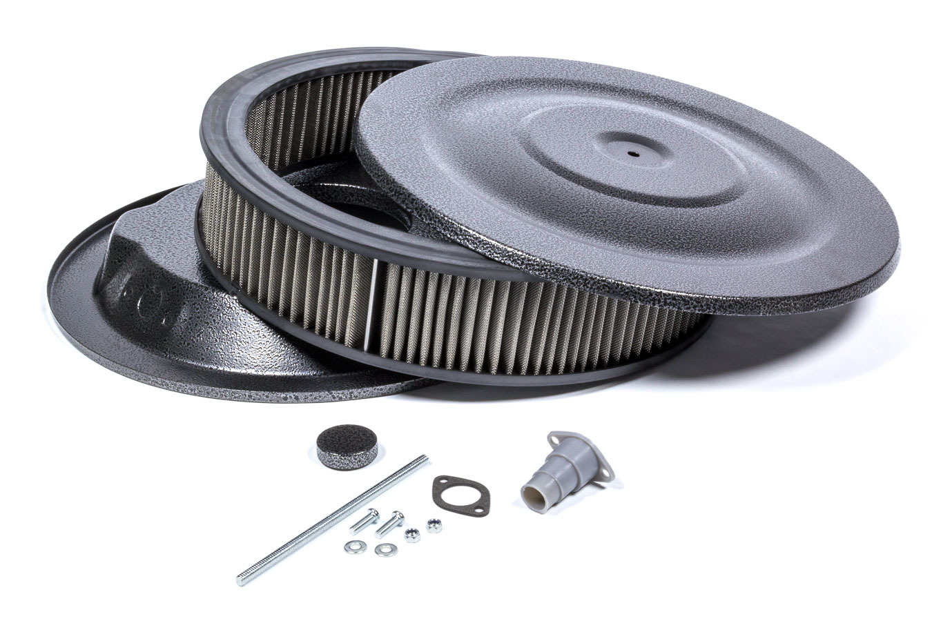 Mr Gasket 1411G Air Cleaner Assembly, Easy Flow, 14 in Round, 3 in Tall, 5-1/8 in Carb Flange, Drop Base, Steel, Silver Vein Powder Coat, Kit