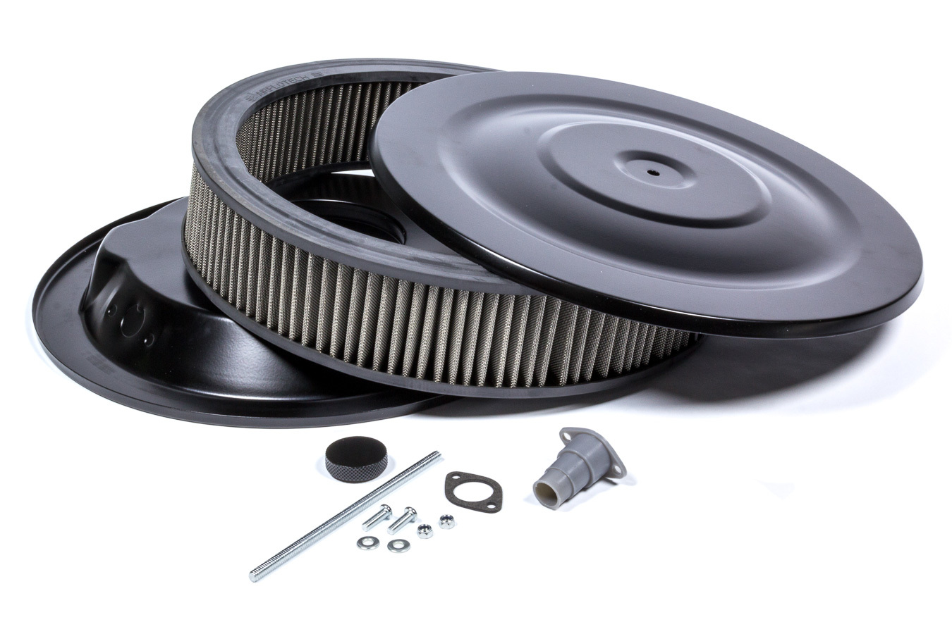 Mr Gasket 1412G Air Cleaner Assembly, Easy Flow, 14 in Round, 3 in Tall, 5-1/8 in Carb Flange, Drop Base, Steel, Flat Black, Kit