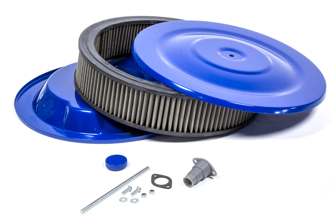 Mr Gasket 1414G Air Cleaner Assembly, Easy Flow, 14 in Round, 3 in Tall, 5-1/8 in Carb Flange, Drop Base, Steel, Blue Powder Coat, Kit