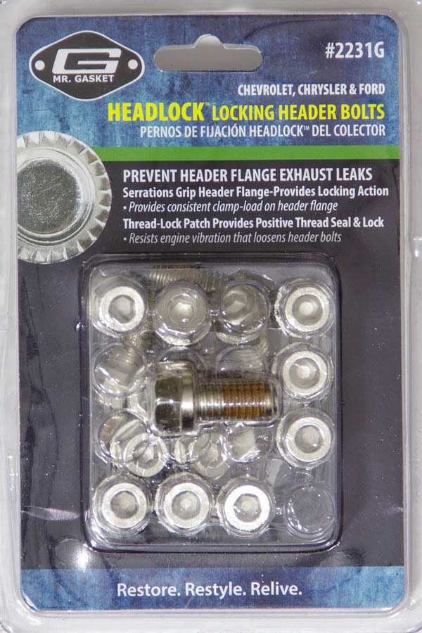 Mr Gasket 2231G Header Bolt, Locking, 3/8-16 in Thread, 0.750 in Long, Hex Head, Stainless, Various Applications, Set of 16