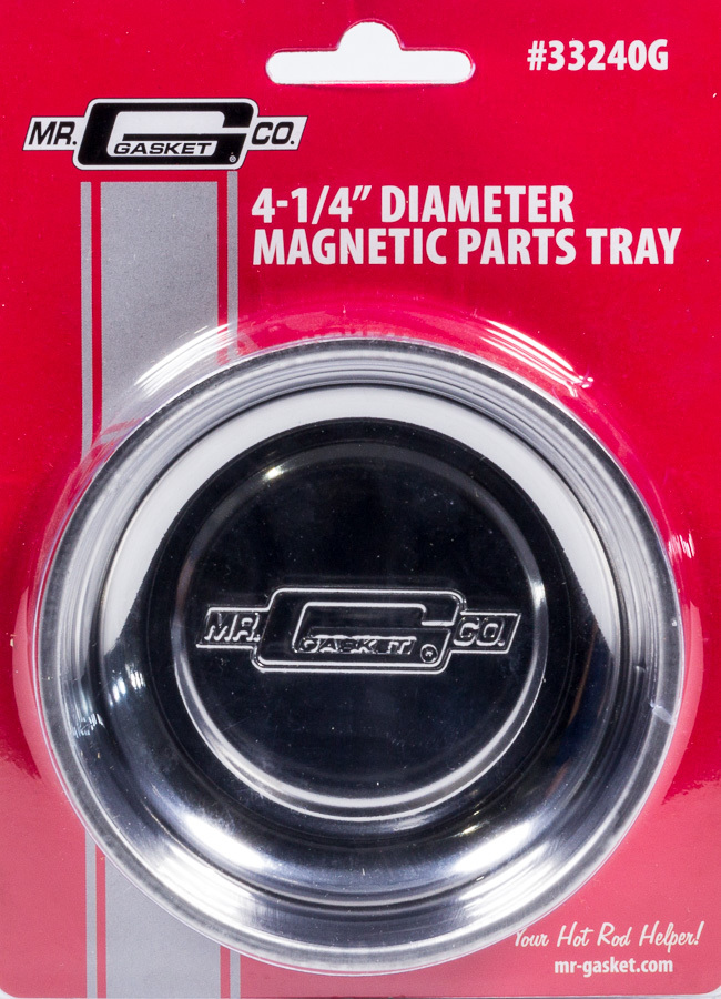 Mr Gasket 33240G Tool Tray, Magnetic Parts Tray, Round, Rubber Coated Base, 4-1/4 in Diameter, 1-1/4 in Thick, Mr. Gasket Logo, Stainless, Polished, Each