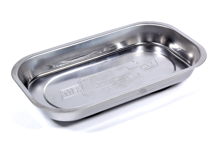 Mr Gasket 33241G Tool Tray, Magnetic Parts Tray, Rectangle, Rubber Coated Base, 5-3/8 x 9-3/8 x 1-1/4 in, Mr. Gasket Logo, Stainless, Polished, Each