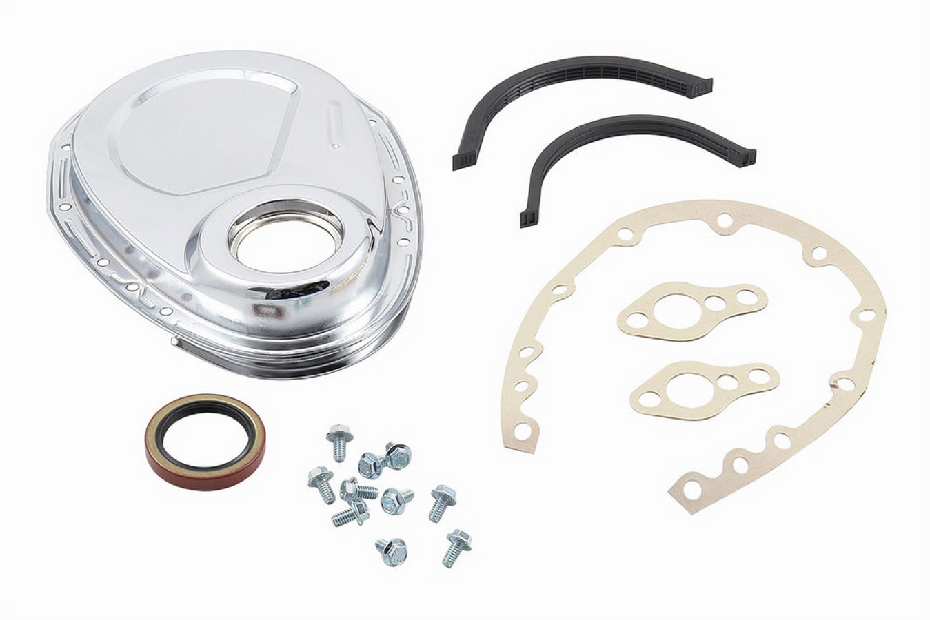 Mr Gasket 4590 Timing Cover, 1 Piece, Gaskets / Hardware / Seal Included, Steel, Chrome, Small Block Chevy / GM V6, Each