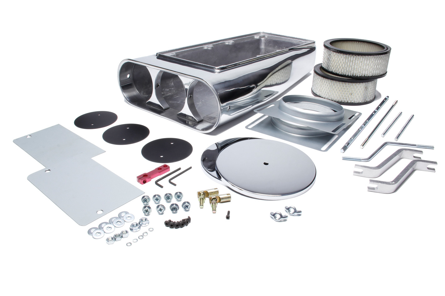 Mr Gasket 6650G Air Cleaner Assembly, Street Scoop, Enderle Style, 20 in Length, Dual 5-1/8 in Carb Flange, Aluminum, Polished, Kit