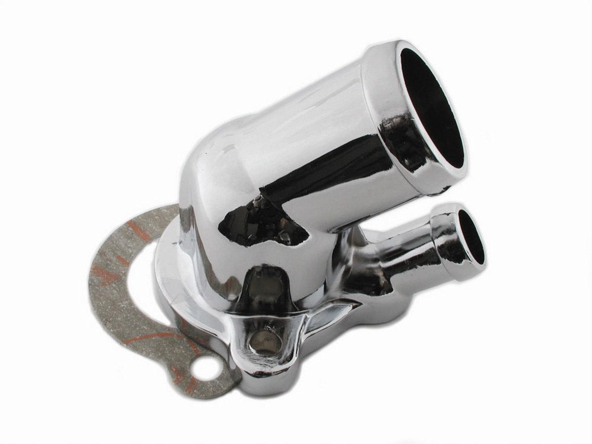Mr Gasket 9714 Water Neck, 45 Degree, 1-1/2 in ID Hose, Gasket, Hardware Included, Steel, Chrome, Oldsmobile V8, Each