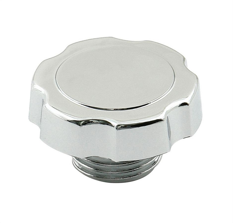 Mr Gasket 9724 Oil Fill Cap, Screw-On, Round, Steel, Chrome, Late Model GM V6 / V8, Each
