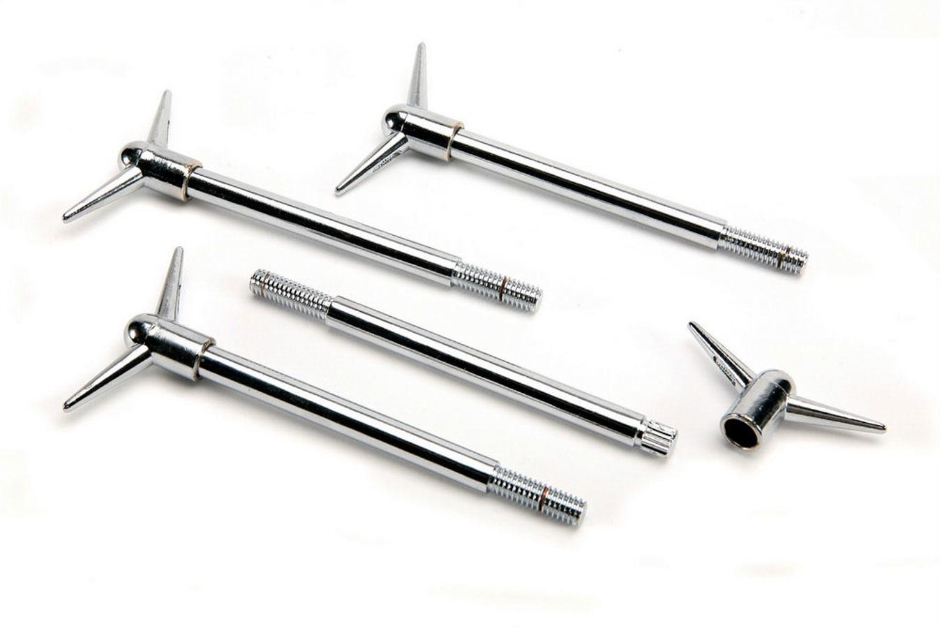 Mr Gasket 9829 Valve Cover Fastener, Standard, Bolt, 5/16-18 in Thread, 5.750 in Long, Wing Head, Steel, Chrome, Set of 4