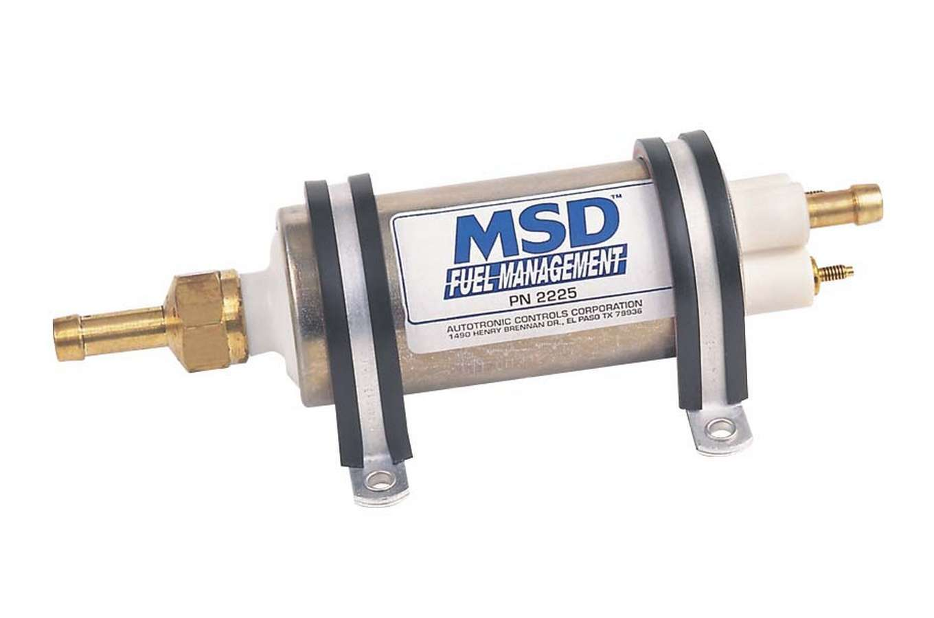 MSD Ignition 2225 Fuel Pump, Electric, In-Line, 43 gph at 40 psi, 3/8 in Hose Barb Inlet, 5/16 in Hose Barb Outlet, Mounting Brackets Included, Kit