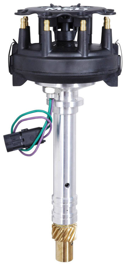 MSD Ignition 2340 Distributor, Camshaft Sync, Trigger Wheel Pickup, Locked Advance, HEI Style Terminal, Black, Low Profile, Large Cap, Chevy V8, Each