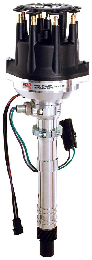 MSD Ignition 2345 Distributor, Pro-Billet, Camshaft Sync / Magnetic Pickup, Electronic Advance, HEI Style Terminal, Black, Adjustable Rotor, Chevy V8, Each