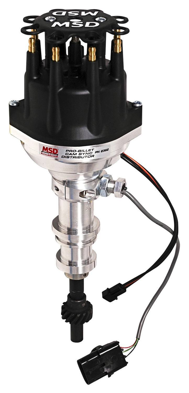 MSD Ignition 2362 Distributor, Pro-Billet, Camshaft Sync / Magnetic Pickup, Electronic Advance, HEI Style Terminal, Black, Adjustable Rotor, Small Block Ford, Each
