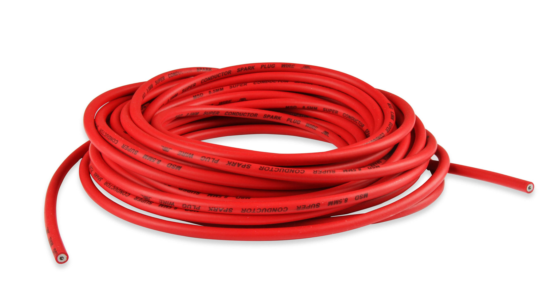 MSD Ignition 34029 Spark Plug Wire, Super Conductor, Spiral Core, 8.5 mm, 50 ft, Silicone, Red, Each