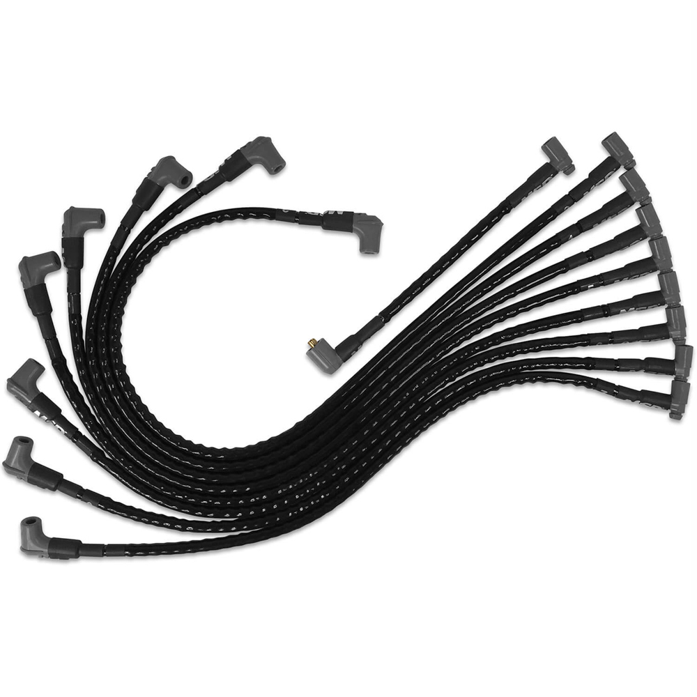 MSD Ignition 35591 Spark Plug Wire Set, Super Conductor, Spiral Core, 8.5 mm, Sleeved, Black, 90 Degree Boots, HEI Style Terminal, Under Exhaust, Small Block Chevy, Kit
