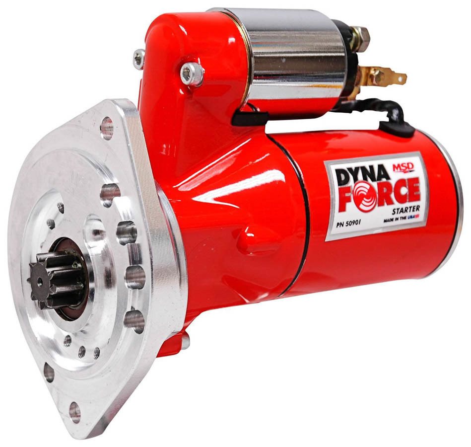 MSD Ignition 50901 Starter, DynaForce, 4.4:1 Gear Reduction, Red, 3/8 in Depth, Small Block Ford, Each