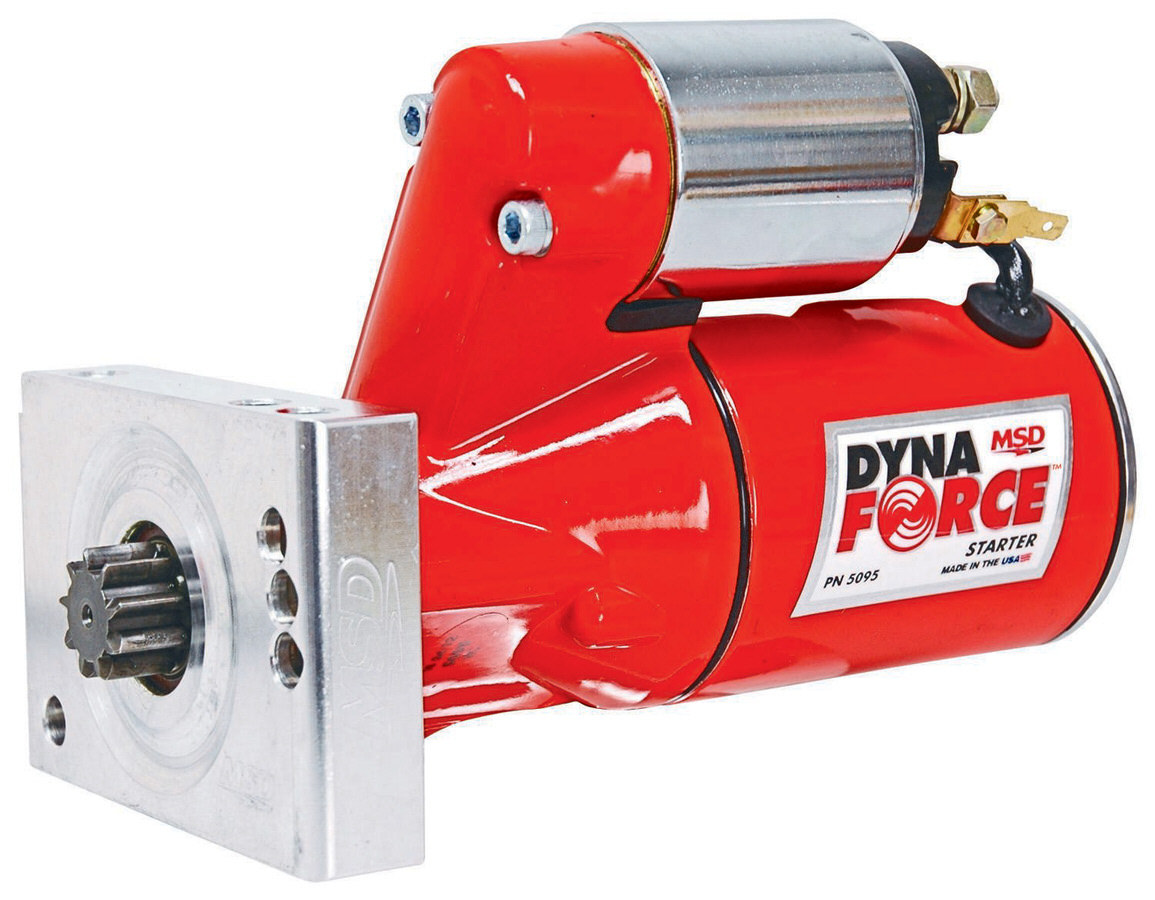 MSD Ignition 5095 Starter, DynaForce, 4.4:1 Gear Reduction, Red, 153 / 168 Tooth Flywheels, Straight Bolt, Chevy V8, Each