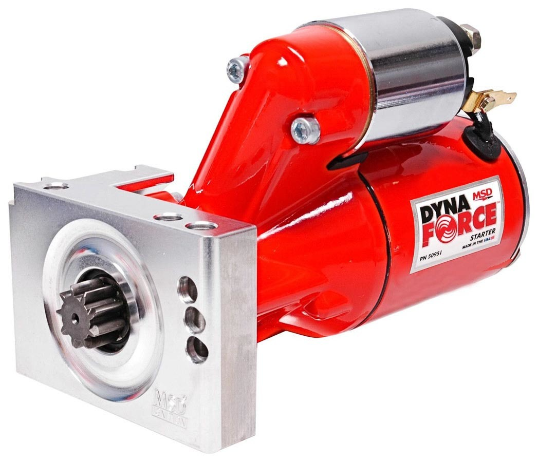 MSD Ignition 50951 Starter, DynaForce, 4.4:1 Gear Reduction, Red, 168 Tooth Flywheels, Staggered Mount, Chevy V8, Each