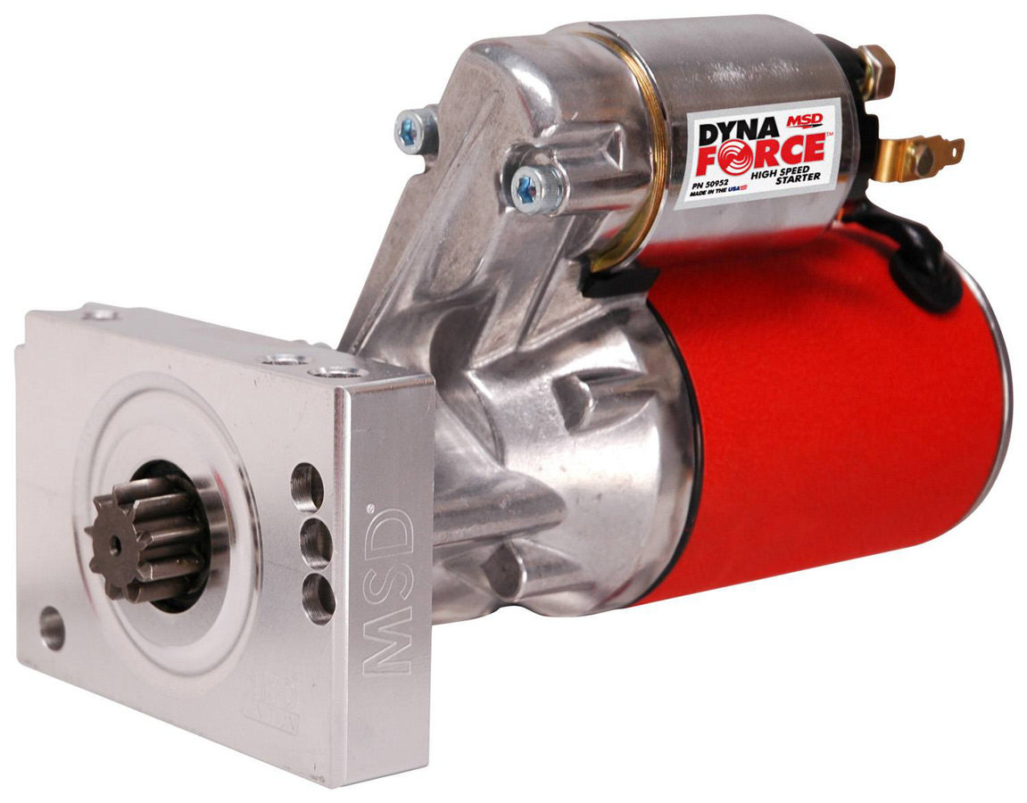 MSD Ignition 50952 Starter, DynaForce High Speed, 3.73:1 Gear Reduction, Red, 153 / 168 Tooth Flywheels, Chevy V8, Each