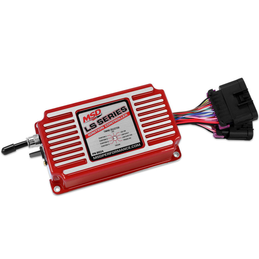 MSD Ignition 6014 Ignition Box, LS Series, Digital, CD Ignition, 2-Step Rev Limit, Programmable Timing Curves, Step Retard, GM LS-Series, Red, Each