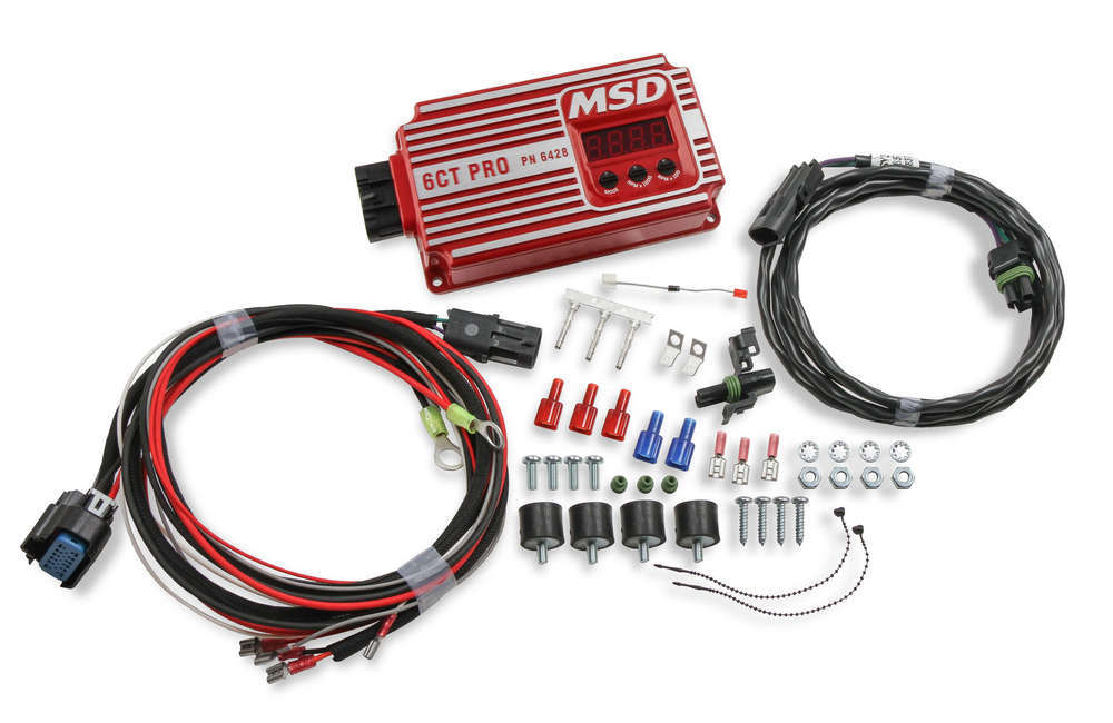 MSD Ignition 6428 Ignition Box, 6CT Pro, Analog, CD Ignition, Multi-Spark, 45000V, Rev Limiter, Red, Each