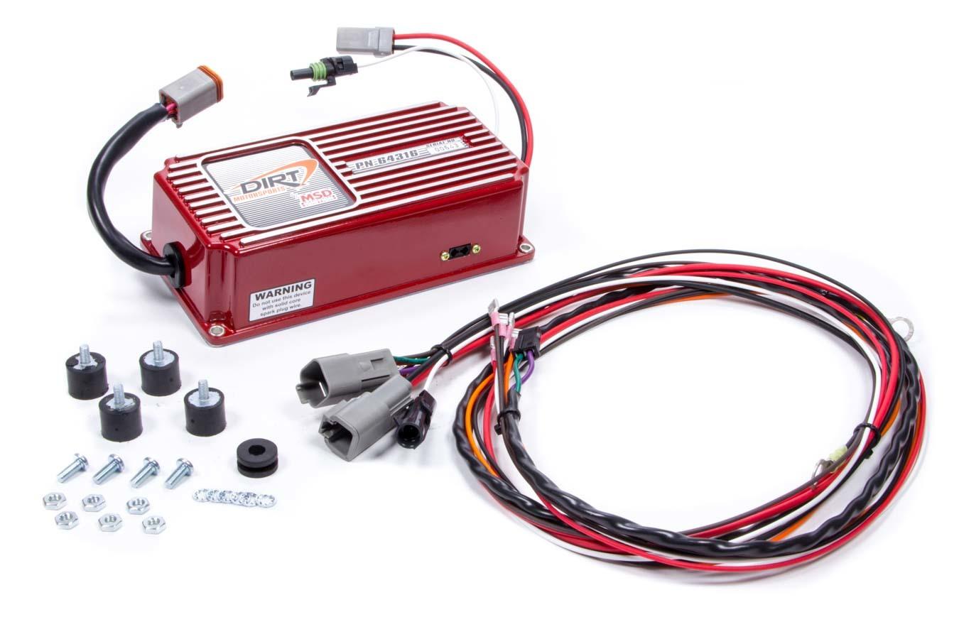 MSD Ignition 64316 Ignition Box, Dirt Motorsports 6ALN, Analog, CD Ignition, Multi-Spark, 45000V, Rev Limiter, Weathertight Connectors, Each