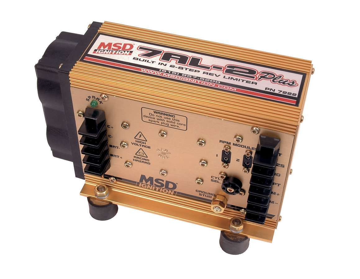 MSD Ignition 7222 Ignition Box, 7AL-2 Plus, Analog, CD Ignition, Multi-Spark, 47000V, 2-Step Rev Limiter, Each