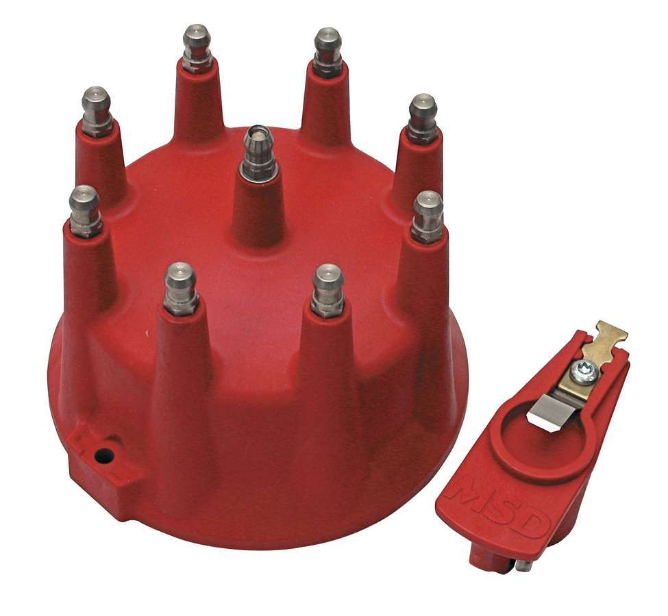 MSD Ignition 7919 Cap and Rotor Kit, HEI Style Terminal, Stainless Terminals, Screw Down, Red, Non-Vented, MSD 12 LT, V8, Kit