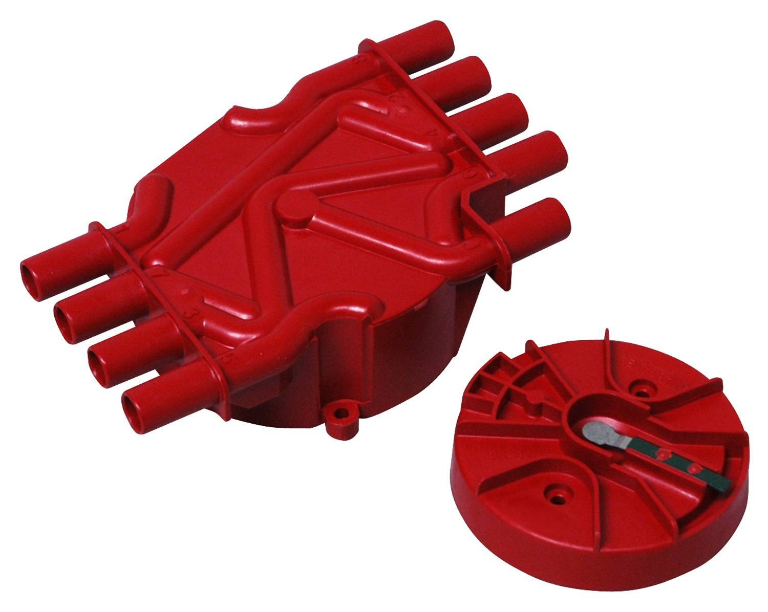 MSD Ignition 8017 Cap and Rotor Kit, Socket Style, Brass Terminals, Screw Down, Red, Non-Vented, Chevy V8, Kit