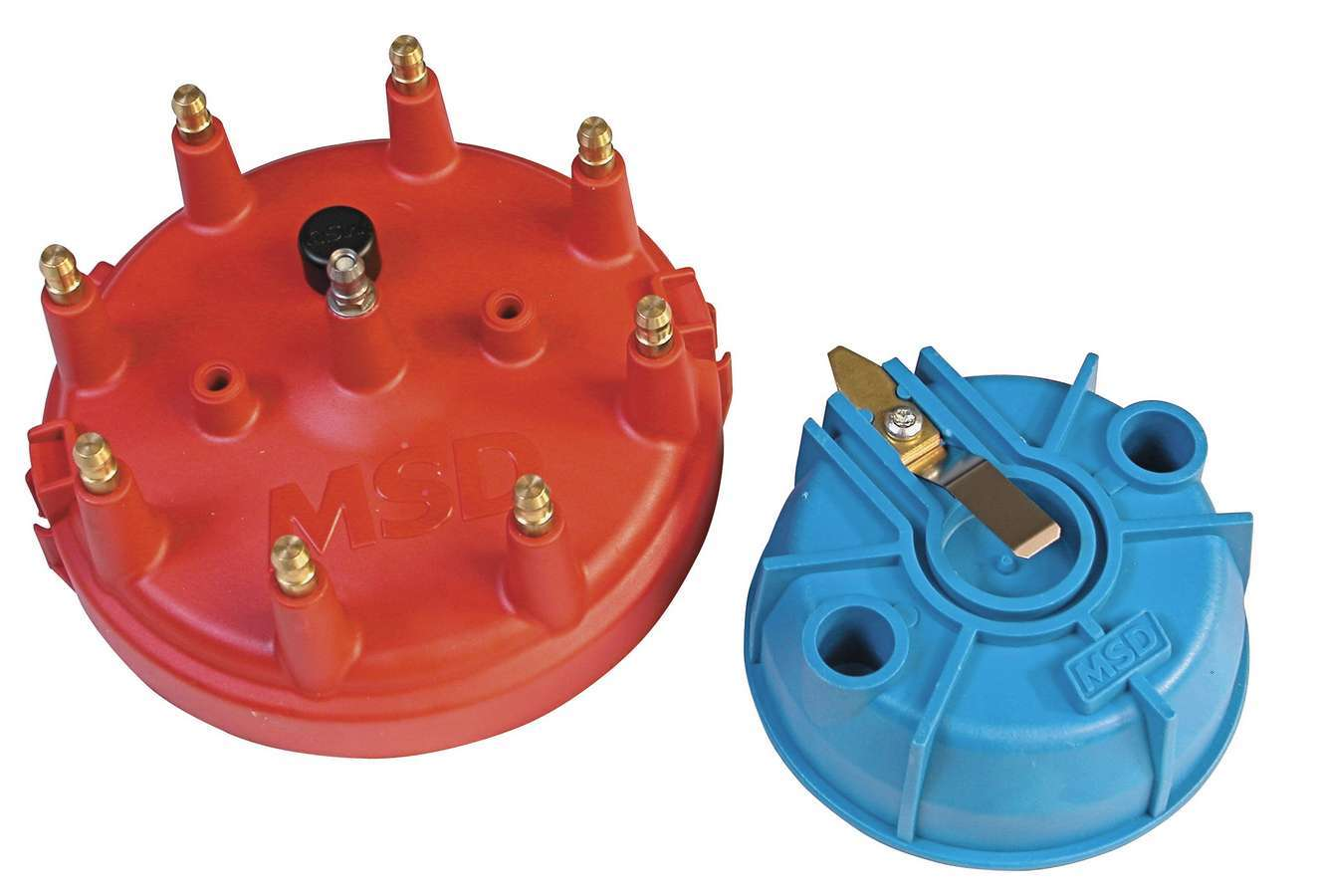 MSD Ignition 8119 Cap and Rotor Kit, HEI Style Terminal, Brass Terminals, Clamp Down, Red, Vented, Pro Mag 44, V8, Kit