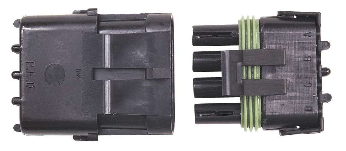 MSD Ignition 8171 Electrical Connector, Weathertight Sealed Connector, 4 Pin, Plastic, Black, Each