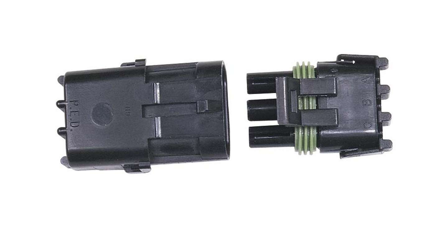 MSD Ignition 8172 Electrical Connector, Weathertight Sealed Connector, 3 Pin, Plastic, Black, Each