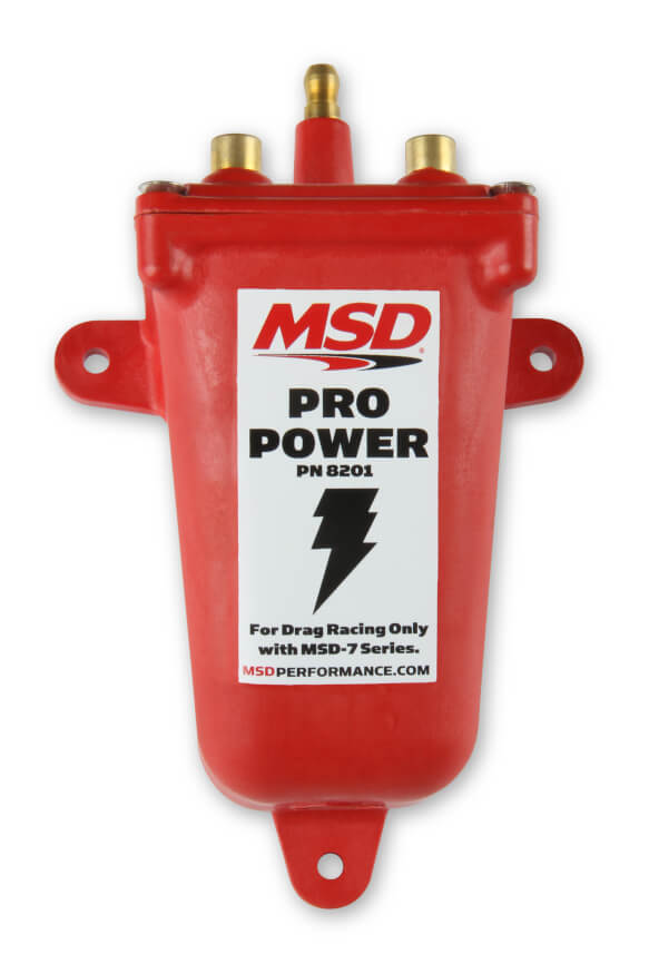 MSD Ignition 8201 Ignition Coil, Pro Power, Canister, Epoxy Filled, 0.030 ohm, Male HEI, 43000V, Red, Each