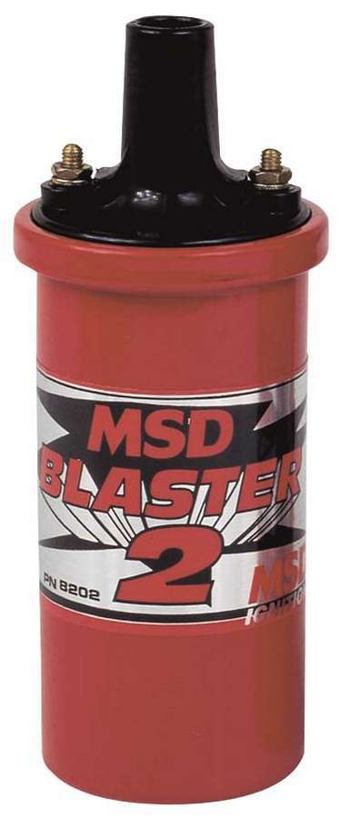 MSD Ignition 8202 Ignition Coil, Blaster 2, Canister, Oil Filled, 0.700 ohm, Female Socket, 45000V, Red, Each