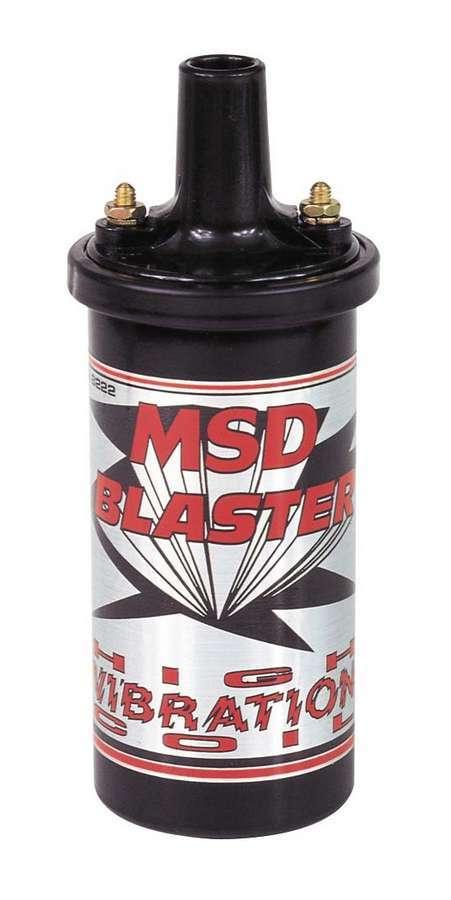 MSD Ignition 8222 Ignition Coil, Blaster High Vibration, Canister, Epoxy Filled, 0.700 ohm, Female Socket, 45000V, Black, Each