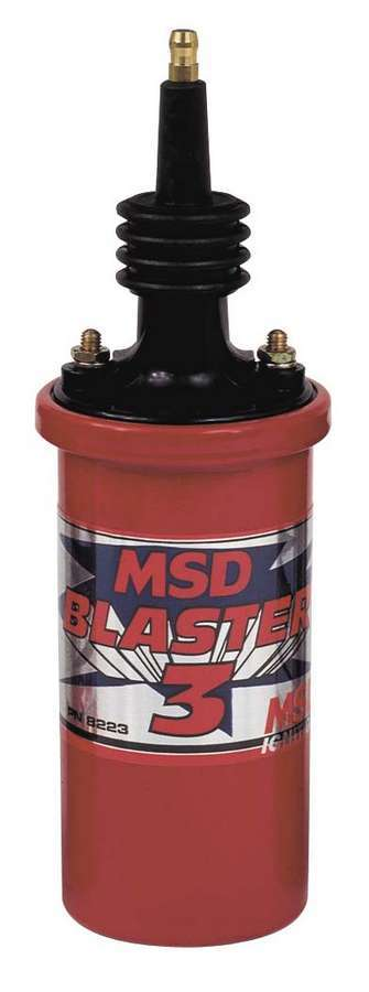 MSD Ignition 8223 Ignition Coil, Blaster 3, Canister, Oil Filled, 0.700 ohm, Male HEI, 45000V, Red, MSD Ignitions, Each