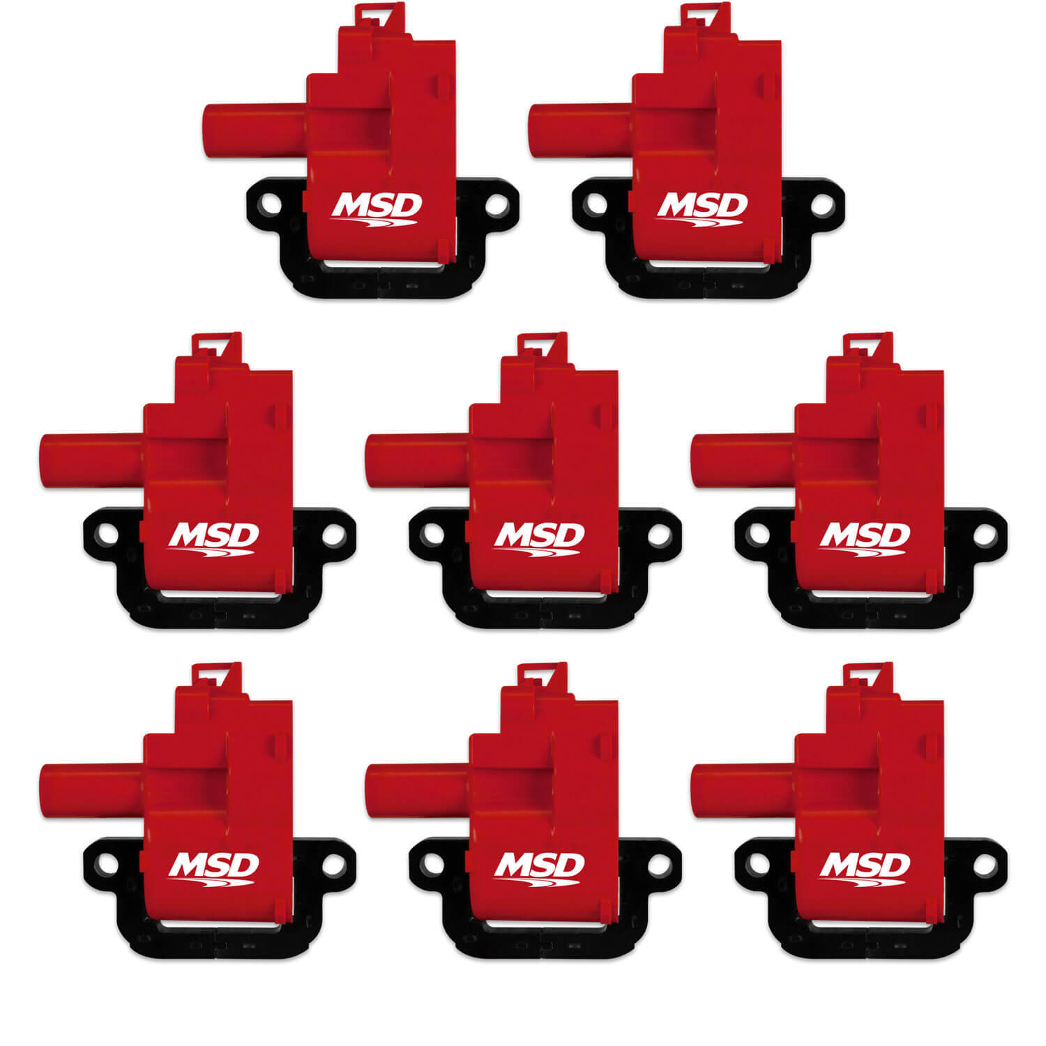 MSD Ignition 82628 Ignition Coil Pack, Blaster, Female Socket, Red, GM LS-Series, Set of 8