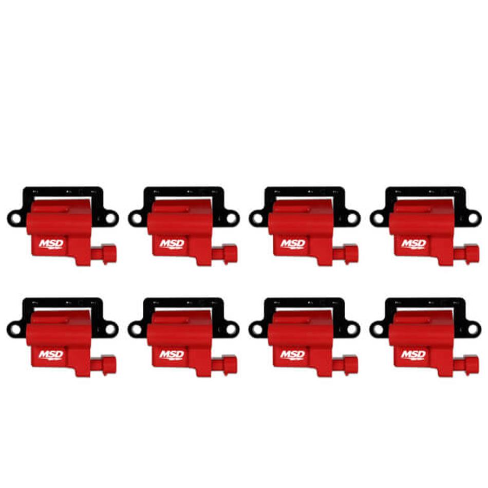 MSD Ignition 82648 Ignition Coil Pack, Blaster LS, Female Socket, Red, GM LS-Series, GM Fullsize Truck 1999-2009, Set of 8