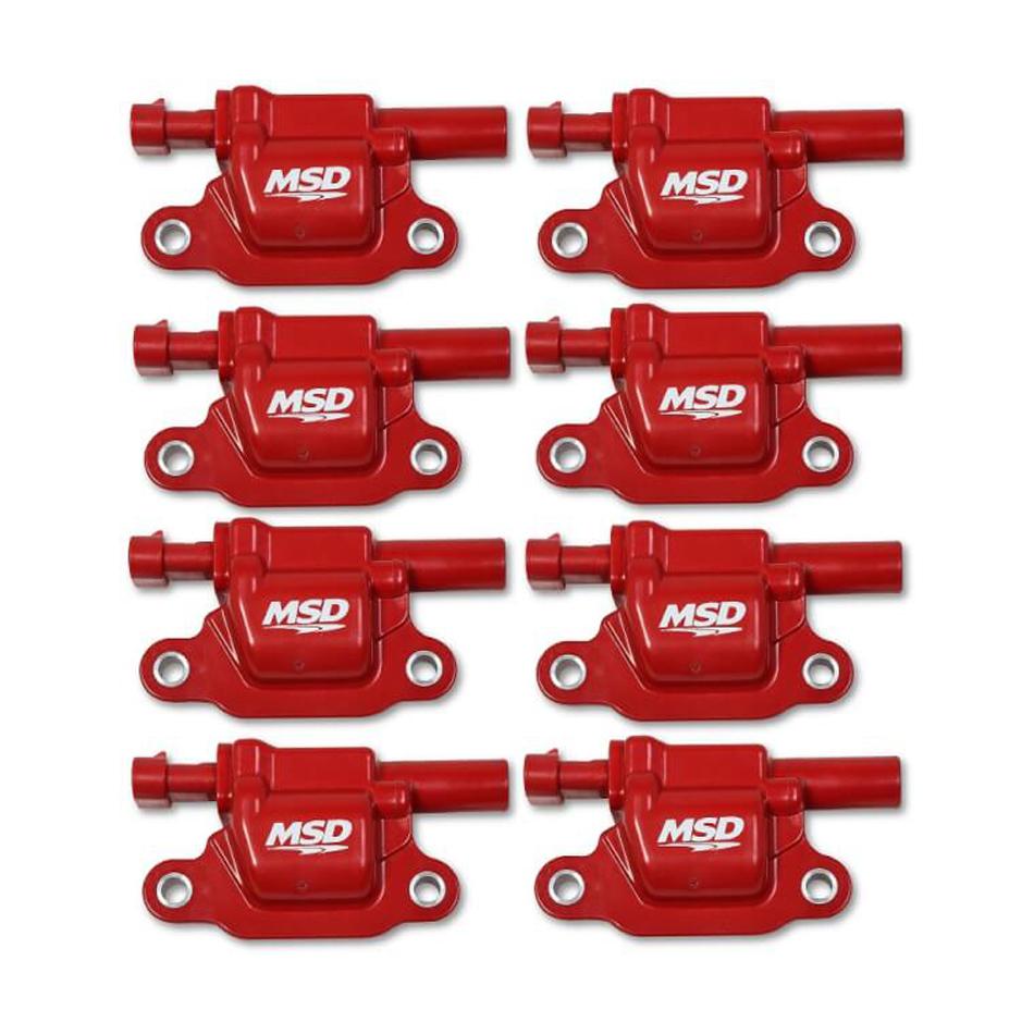 MSD Ignition 82668 Ignition Coil Pack, Blaster Gen V, Square, Female Socket, Red, GM Gen V LT-Series, Set of 8