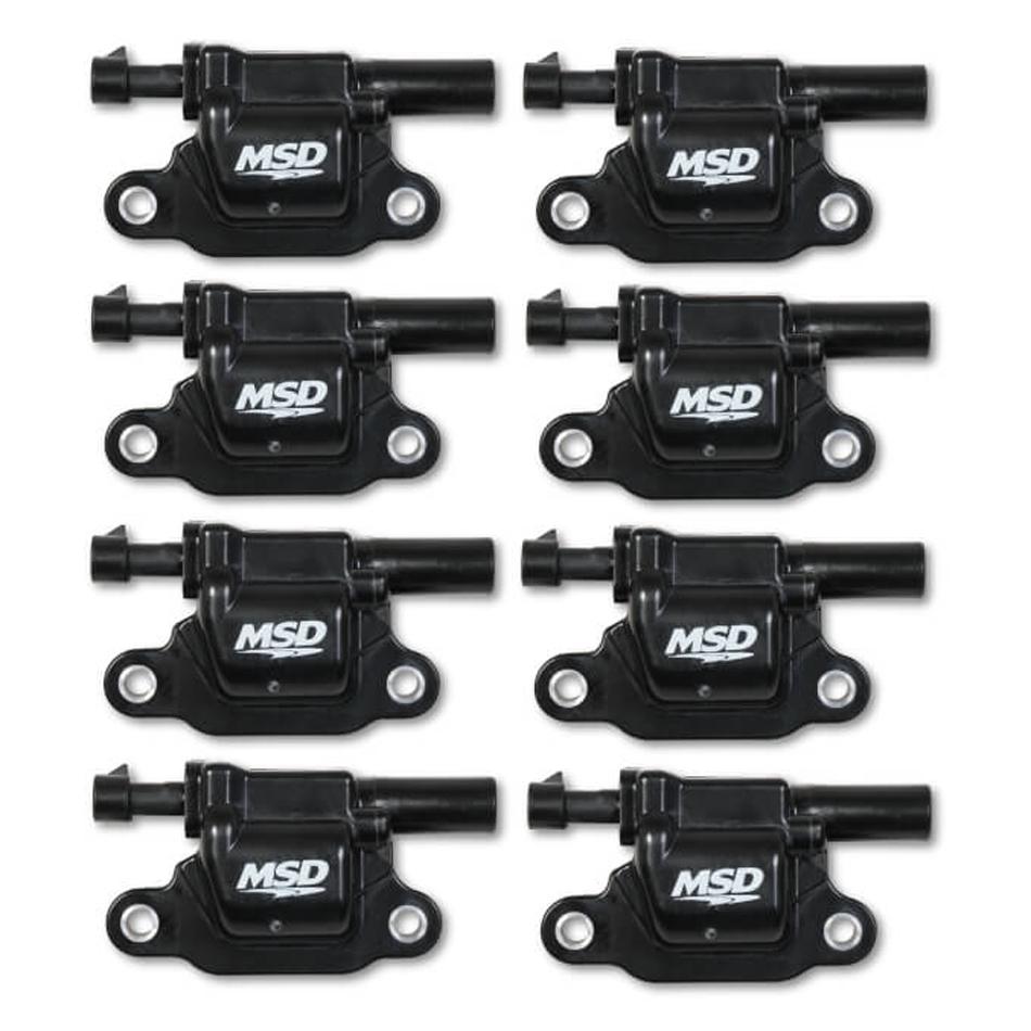 MSD Ignition 826683 Ignition Coil Pack, Blaster Gen V, Square, Female Socket, Black, GM Gen V LT-Series, Set of 8