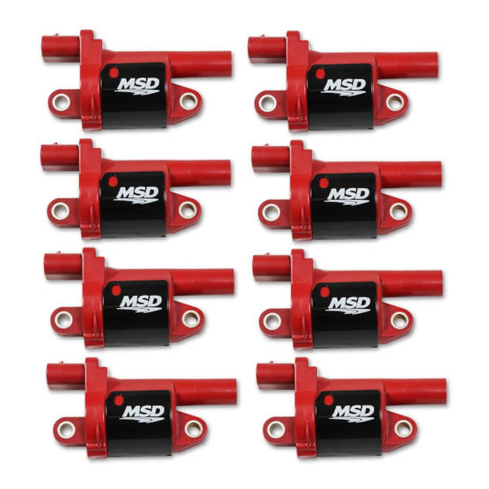 MSD Ignition 82688 Ignition Coil Pack, Blaster Gen V, Round, Female Socket, Red, GM Gen V LT-Series, Set of 8
