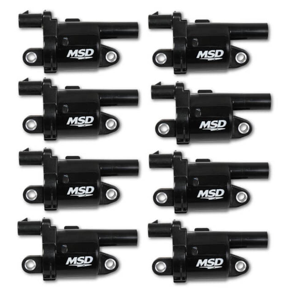 MSD Ignition 826883 Ignition Coil Pack, Blaster Gen V, Round, Female Socket, Black, GM Gen V LT-Series, Set of 8