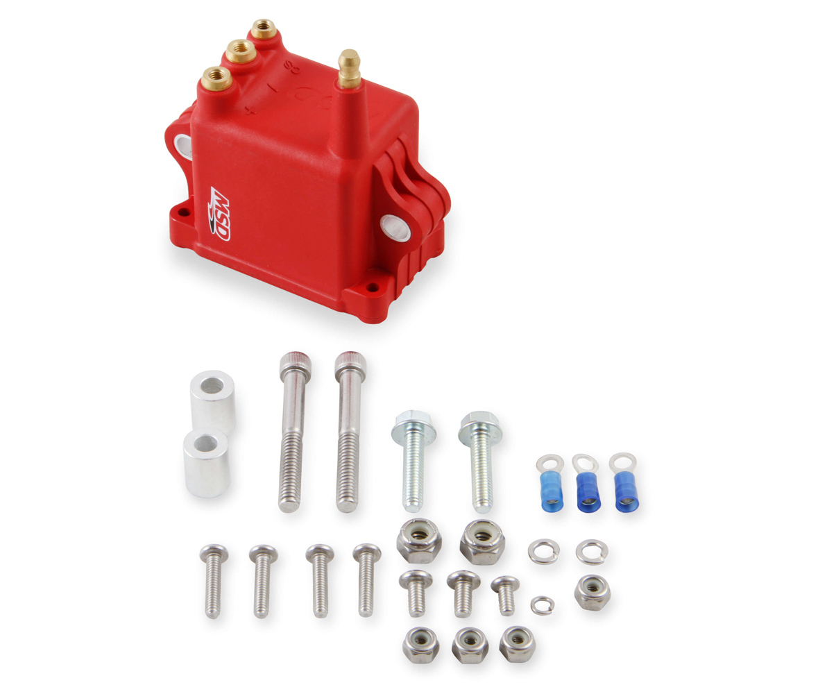 MSD Ignition 8280 Ignition Coil Pack, Pro CDI 600, Square, 0.064 ohm, Male HEI, 50000V, Red, GM LS-Series, Each
