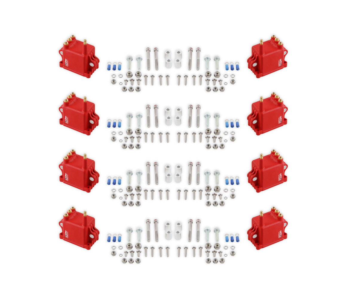 MSD Ignition 82808 Ignition Coil Pack, Pro CDI 600, Square, 0.064 ohm, Male HEI, 50000V, Red, GM LS-Series, Set of 8